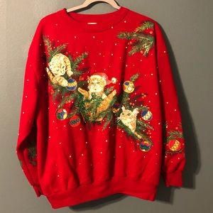 Red Crazy Cat Lady Christmas Ugly Sweater Size L